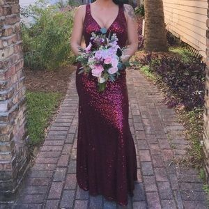 Sequin Bridesmaid Dress Burgundy